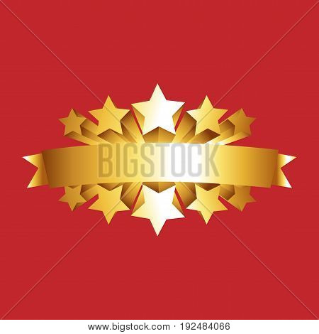 Gold star award with shiny ribbon with space for your text. It can be used for decorating of invitations, greeting cards. Vector Illustration.