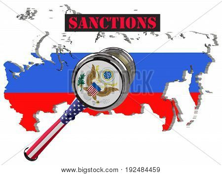 Judge hammer European Union and United States of America sanctions against Russia flag and emblem. 3d illustration. Isolated on white background.