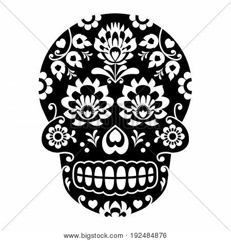 Mexican sugar skull, Halloween skull with flowers - Polish folk art
