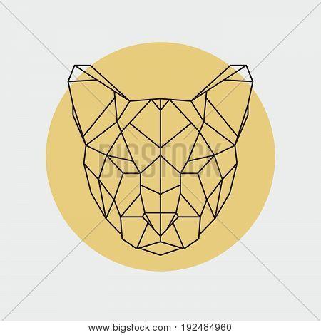 Head of wild cat puma. Geometric style. Vector illustration.