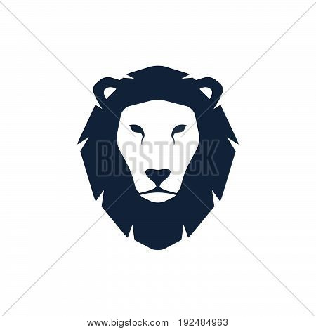 Lion head silhouette. Logo template creative illustration. Animal wild cat face graphic sign.