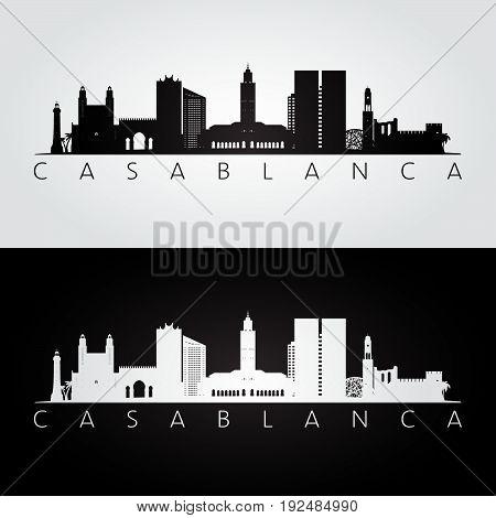 Casablanca skyline and landmarks silhouette black and white design vector illustration.