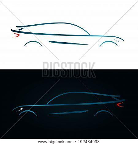 Concept design blue car silhouette. Vector illustration.