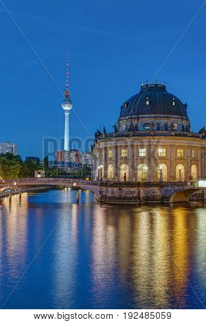 Television Tower and Bode Museum in Berlin at dusk