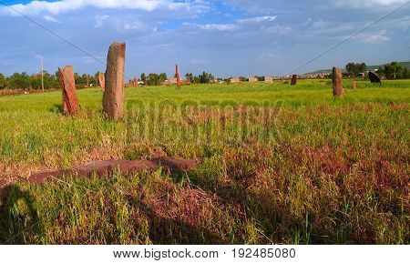 ancient Megalith stela field in Axum Tigray Ethiopia