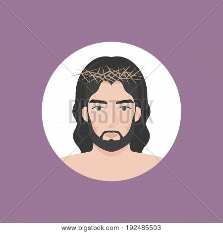 Jesus christ with crown of thorns, flat design vector