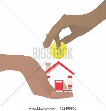 Mortgage Concept. Hand With House And Coin