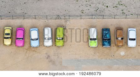 Aerial view of the colorful little german cars Trabi
