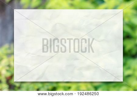 Crumpled white paper with drop shadow on natural green leaf background for business, education and communication concept design.
