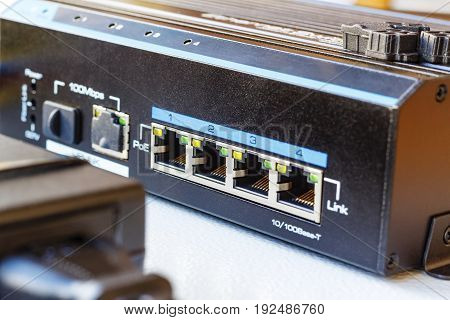Poe Ethernet Switch Installed On The Mounting Plate