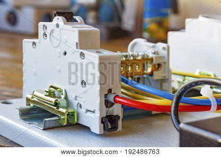 Automatic Circuit Breaker Installed On A Din-rail