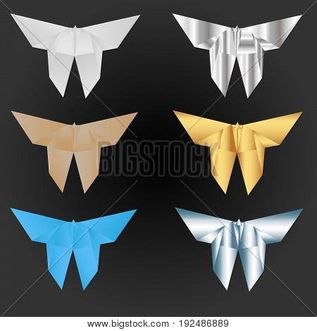 A set with six origami butterflies in different paper styles