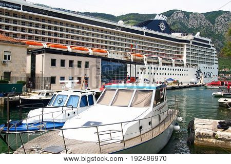 KOTOR - JUNE 01, 2017 - Cruise ship in the harbour of Kotor, Montenegro, Europe