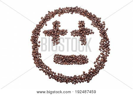 Indifferent Smiley From Coffee Beans, Isolated On White Background