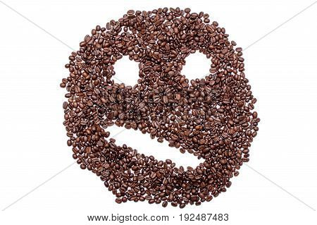 Irritated Confused Smiley Of Coffee Beans Isolated On White Background