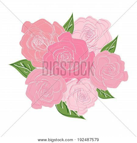 Bouquet of six delicate roses with leaves. Wedding bouquet, bouquet of the bride