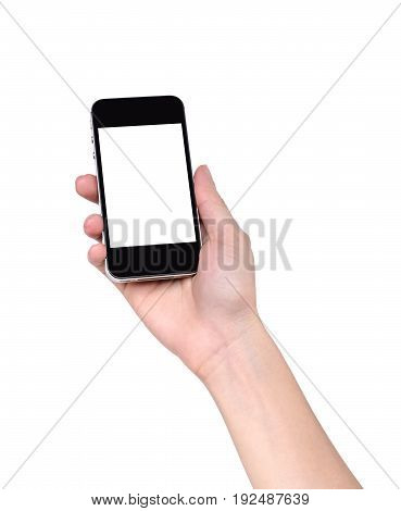 Close-up of right hand holding smartphone isolated on white background for using on other retouching production purposes; technology travel shopping health or relaxing