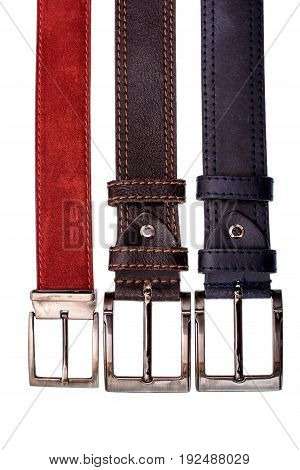 Several Fashionable Male Belts Red Gray Brown Isolated On White Background