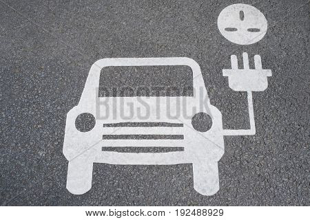 Road Sign Showing Charging Point For Electric Cars