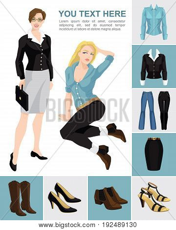 Vector illustration of young pretty women on white background. Variations models of shoes and clothes on color background