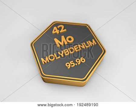 Molybdenum - Mo - chemical element periodic table hexagonal shape 3d render