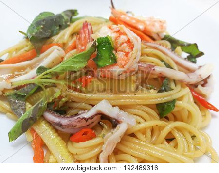 The drunkards cheese Spaghetti sea on a White Background