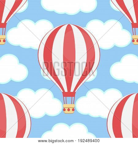 Hot air balloon in sky with clouds. Summer, holiday, vacation time concept. Flat design illustration. Seamless pattern.