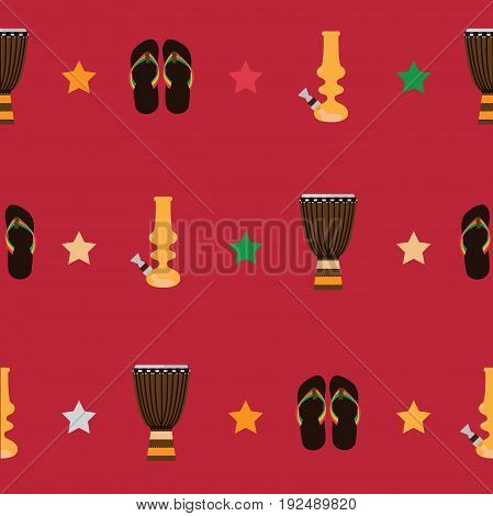 Rastafarian seamless pattern with bongos flip flops and yellow bong for smoking marijuana on red background. Vector illustration with seamless design.