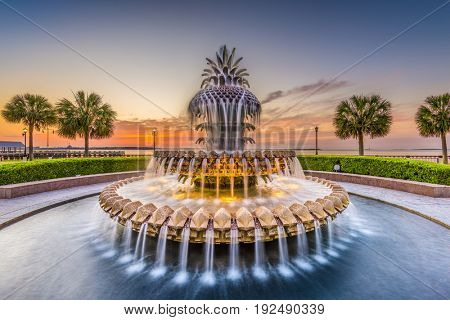 Charleston, South Carolina, USA at the Waterfront Park Pineapple Fountain.