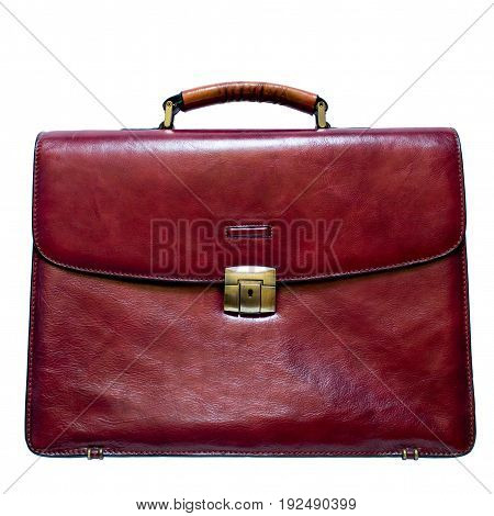 rich wine-colored leather briefcase isolated on white background