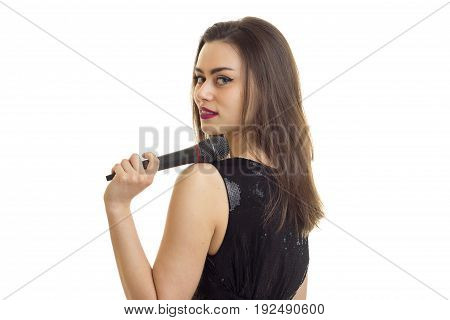 pretty woman smiling on camera with microphone in hands isolated on white background