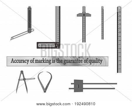 Tools for measuring. For woodworking workshops , ruler, square,