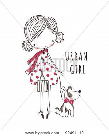 Urban girl with dog. T-shirt graphic for kid's clothing. Use for print design surface design fashion kids wear
