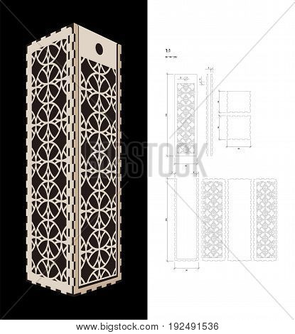 Cut out template for Wine gift slider Box (plywood 3 mm). Creative memory bottle pack with geometric design. Scheme is suitable for a laser cutting or printing