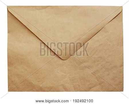 Crumpled craft paper envelop isolated on white background