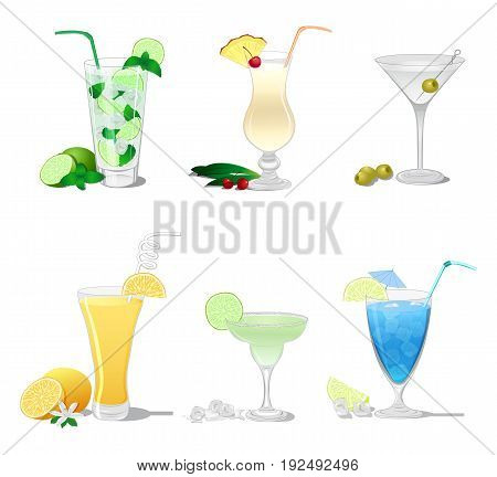 A set of cocktails such as Mojito, Margarita, Pina Colada, Screwdriver, Dry Martini, Blue Lagoon