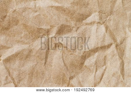 Abstract brown recycle crumpled paper for background : crease of brown paper for design