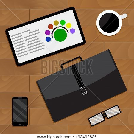 Top view of business activity vector. Active business lifestyle vector business operations illustration