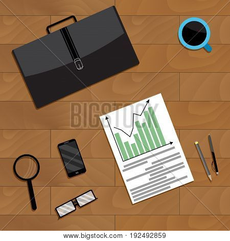 Annual financial forecast of growth and development. Vector forecast financial planning illustration of forecast business analysis plan