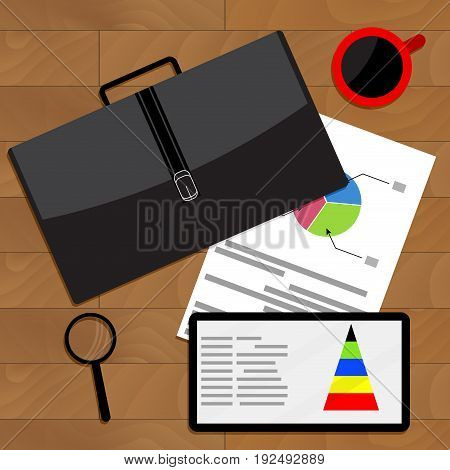 Analysis and comparison of economic data. Stock market economics. Vector illustration