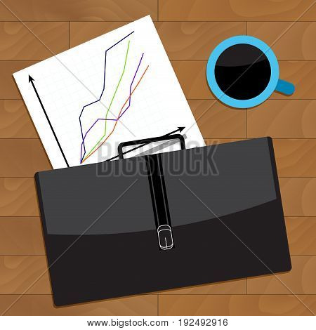 Trend charts of broker on table. Brokerage and workplace stock broker vector stock market illustration of trader agent business table