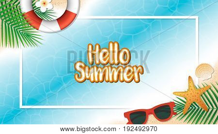 Hello Summer Holiday Background. Season Vacation, Weekend. Vector Illustration.