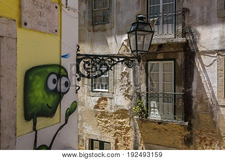 Lisbon, Portugal - May 19, 2017: Fragments From The Streets Of The Old Lisbon, Portugal