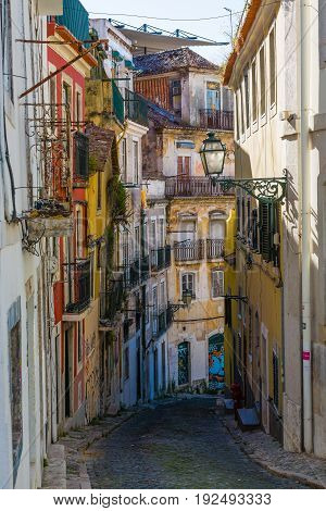 Lisbon, Portugal - May 20, 2017: Fragments From The Streets Of The Old Lisbon, Portugal