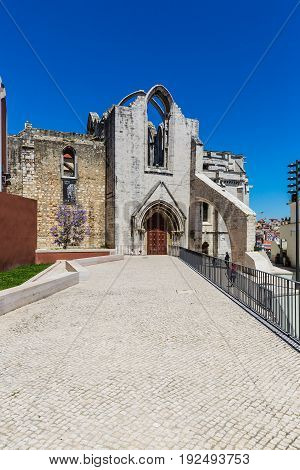 Lisbon, Portugal - May 17, 2017: Carmo Convent In Lisbon, Portugal