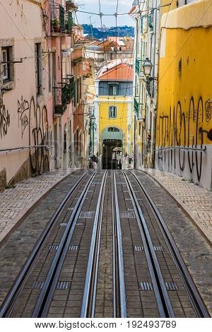 Lisbon, Portugal - May 18, 2017: Fragments From The Streets Of The Old Lisbon, Portugal
