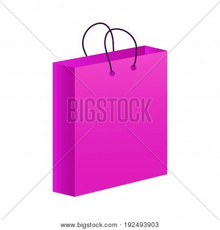 Fashionable pink shopping bag or paper shop bag isolated on a white background. Gift bag isolated.