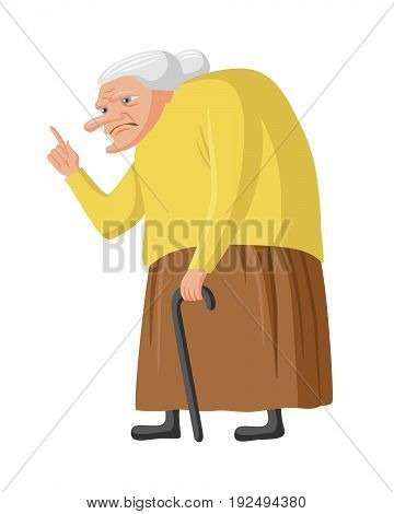 Grumpy granny with cane. Old lady waging her finger. Vector illustration isolated on white