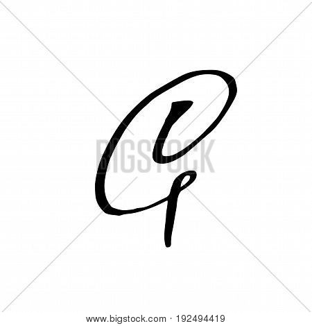 Letter G. Handwritten by dry brush. Rough strokes font. Vector illustration. Grunge style alphabet.
