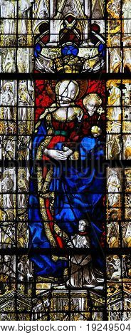 Stained Glass In Rouen Cathedral - Madonna And Child